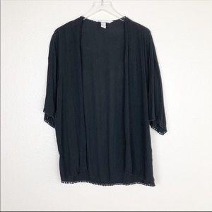 H&M coachella black crinkled kimono cardigan